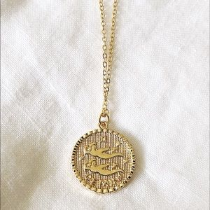 Gold Gemini Coin Medallion Pendant Necklace
